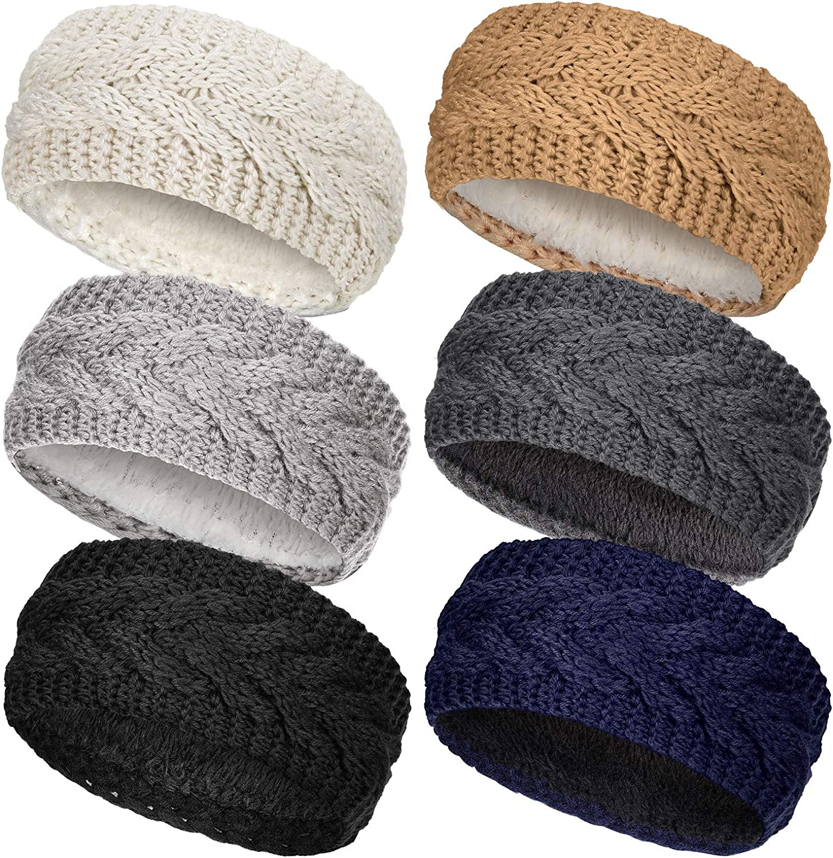 6 Pieces Winter Knitted Headband Crochet Headband Ear Warmer with Plush Lining