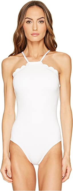 Kate Spade New York - Core Solids #79 Scalloped High Neck One-Piece w/ Removable Soft Cups