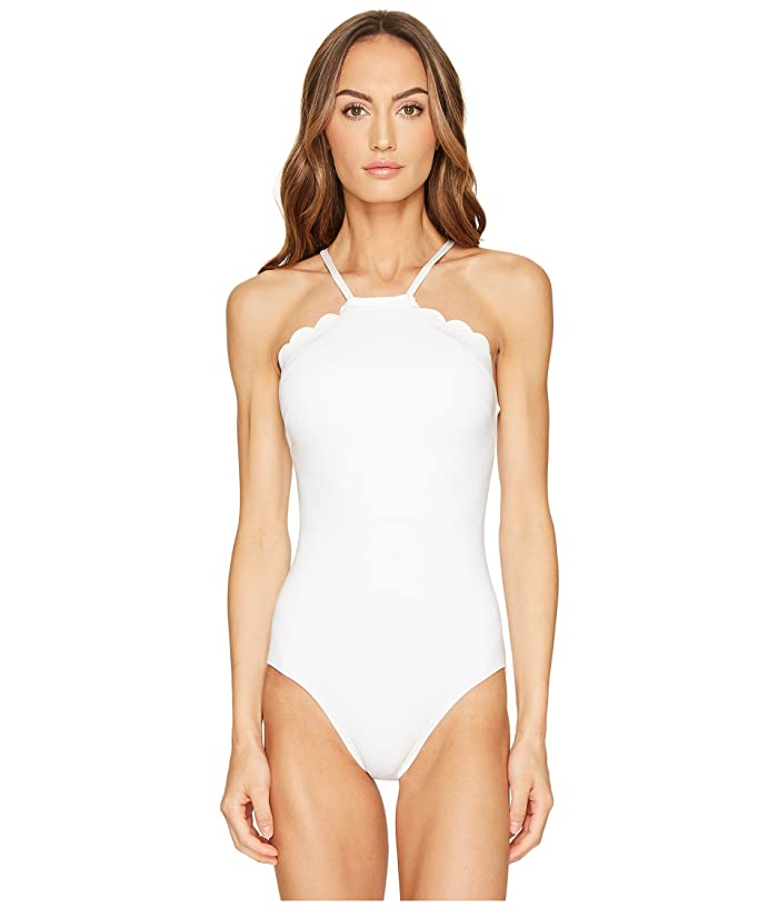 Kate Spade New York Core Solids #79 Scalloped High Neck One-Piece w/ Removable Soft Cups (White) Women