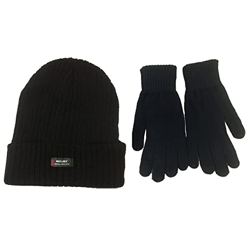 Mens Black  Rockjock  Thermal Thinsulate Winter Hat (Style  Chunky Rib Knit  with 037757078557