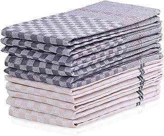 DecoKing 10er Set Küchentücher 50x70 cm mit Aufhänger 100% Baumwolle Creme Grau Grafit hochwertige Geschirrtücher Louie