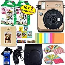 Fujifilm instax Mini 70 Instant Film Camera (Stardust Gold) + Fujifilm instax Mini Instant Film (20 Sheets) + Custom Case + Assorted Frames + Photo Album + 60 Colorful Sticker Frames + HeroFiber