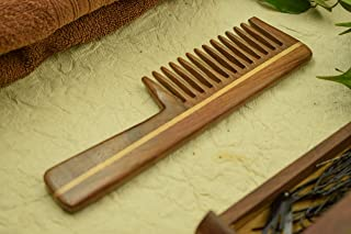 SVATV Rosewood Handcrafted Comb :: with Handle - Wide Tooth Wood Comb for Curly Hair (S81A)