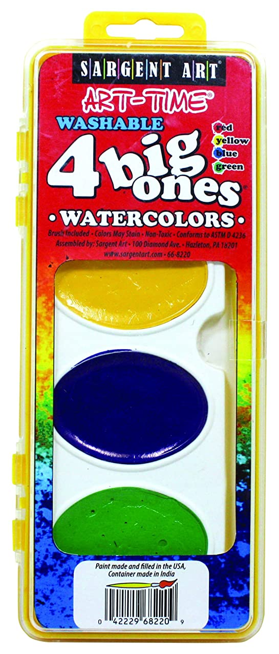 Sargent Art 66-8220 Art Time 4-Count Washable Big Ones Watercolor Pan Set with Brush