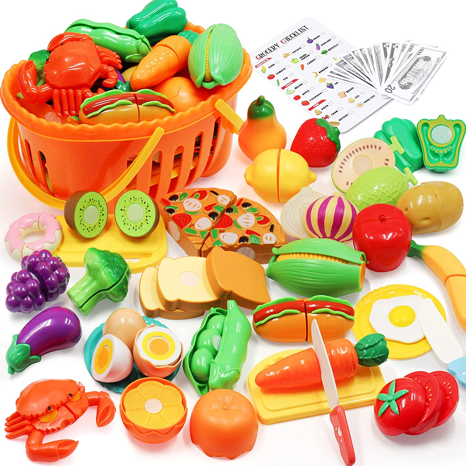 68PCS Cutting Pretend Play Food Sets for Kids Kitchen Toys Accessories with Storage Basket, Plastic Toy Food Set Fruits & Vegetables, Dishes, Knives, Shopping Card Playset for Kids Toddlers Girls Boys
