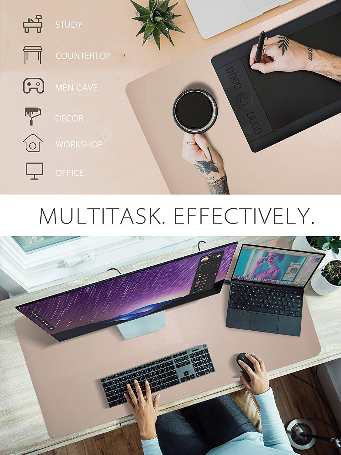 Deskadia Double Sided Two Tone Vegan Leather Desk Mat Protector Pad, Waterproof Writing Mouse Pad Table Blotter Cover for Home Office Study Gaming Kids Decor (Graphite/Eggshell,36x17x0.08in)