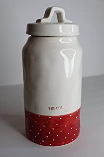Rae Dunn Magenta Ceramic Canister Treats. - Cream & Red Polka Dot
