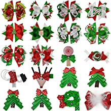 Cute Christmas Hair Bow for Baby Toddlers Girls with Xmas Tree Santa Claus Snowman Decor