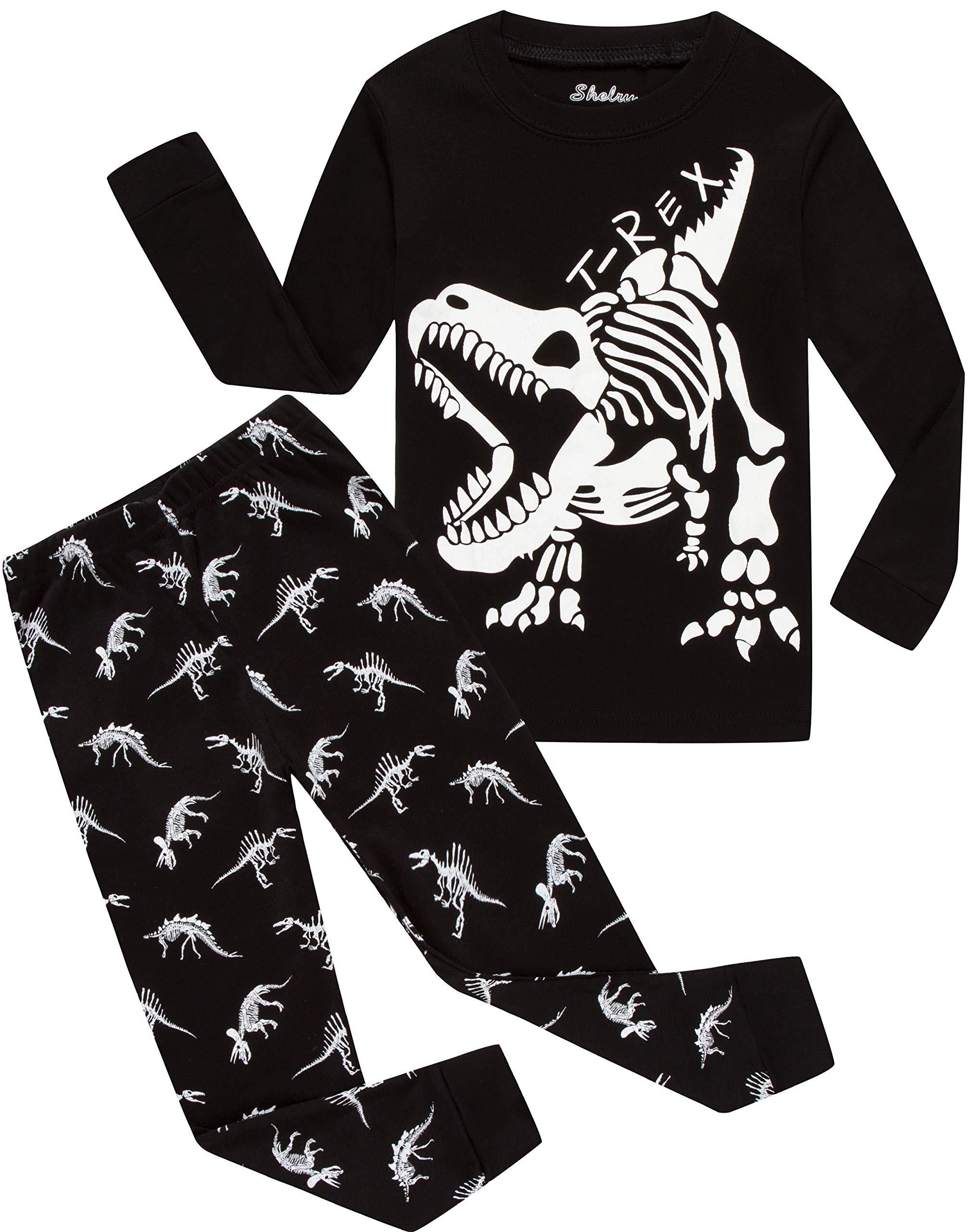 Boys Pajamas Long Sleeves Toddler Clothes White Dinosaurs Kids Pjs Sleepwear