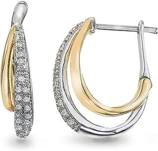 Diamond 0.16CT Two-Tone Hoop Earrings in 10K Gold