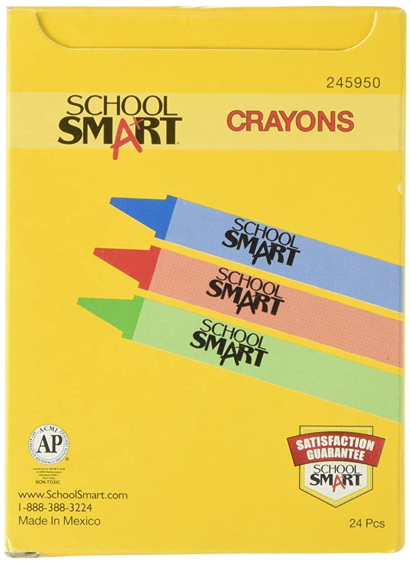 School Smart Standard Non-Toxic Crayons - 3 1/2 x 5/16 inches - Set of 24 - Assorted Colors