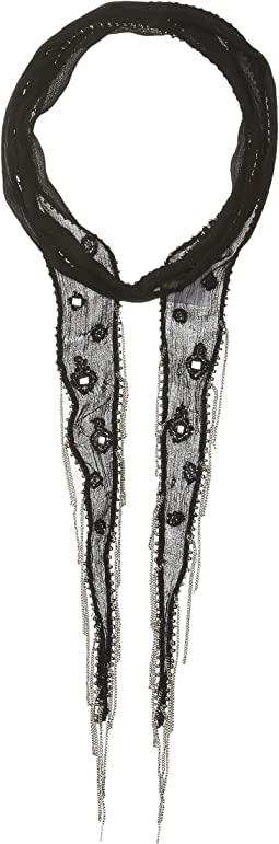 Lurex Thread Mirror Long Skinny Scarf