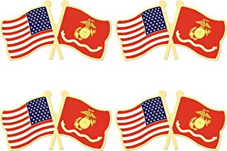 ALEY 4 Pack US Marine Corps Flag Pin Small Mini United States Military Flags Lapel Pins,Decorations Supplies for Army Party Events Celebration