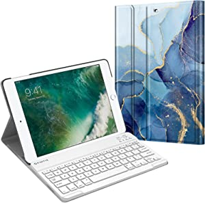 Fintie Keyboard Case for iPad 9.7 2018/2017 / iPad Air 2 / iPad Air - Slim Shell Stand Cover w/Magnetically Detachable Wireless Bluetooth Keyboard for iPad 6th / 5th Gen, Ocean Marble