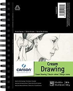 """CANSON Artist Series Cream Drawing Pad 5.5"""" x 8.5"""", Side Wire Bound, 60 Sheets (400059707)"""