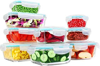Utopia Kitchen Glass Food Storage Container Set – 18 Pieces (9 Containers and 9..