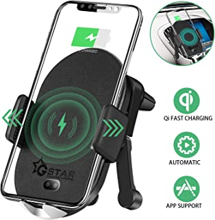 Gstar Smart Qi Certified Wireless Car Charger Auto-Clamping Air Vent Mount with App Control for Tracking, Real-time Incident Report, Neighborhood Crime Rate Report, Family Location Sharing