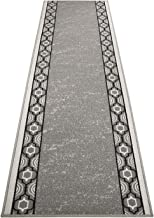 RugStylesOnline Custom Runner Trellis Border Roll Runner 36 Inch Wide x Your Length Size Choice Slip Skid Resistant Rubber Back 5 Color Options (Grey, 8 ft x 36 in)