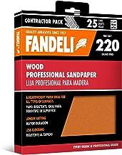 Fandeli 36014 hojas de papel de lija de madera grano 220, 9 x 11 pulgadas, 25 hojas