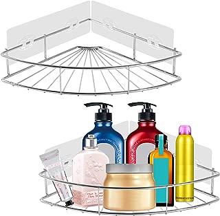 PENGKE 2 Pack Corner Shower Caddy,Adhesive Corner Bathroom Shelf Storage Wall Mounted Shower Caddy Shelf Organizer for Toilet, Dorm and Bathroom