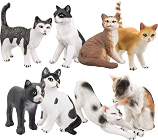 24 PLASTIC CAT FIGURES FELINE FUN CATS GOODY BAGS TREAT BOXES CUPCAKE TOPPERS