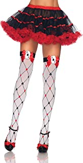 Women's Harlequin and Heart Thigh Highs/White/Red One Size