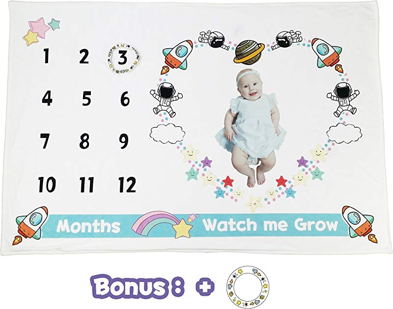 Baby Milestone Blanket Premium Minky Fleece Space Travel Backdrop Photo Banner Frame Prop Shower Gift With Maker Large 60 X 40 Size