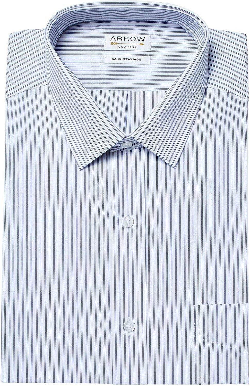 Arrow - Camisa cómoda sin planchar, a rayas, color azul ...