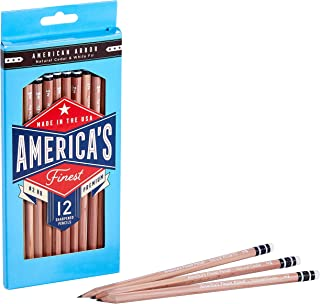 America's Finest Pre-Sharpened #2 Pencils, Made in USA, Responsibly Sourced Wood Cased, HB Graphite Core, Natural Wood Loo...
