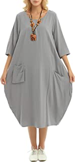 Best Soft Linen Cotton Lantern Loose Dress Spring Summer Fall Plus Size Clothing Y19 Reviews