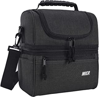MIER Adult Lunch Box Insulated Lunch Bag Large Cooler Tote Bag for Men, Women, Double Deck Cooler (Dark Grey, Medium)
