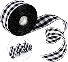 Tatuo Wide Wired Plaid Taffeta Ribbon 25 Yards 1.50 Inches Gingham Ribbon Craft Wide Plaid Ribbon for DIY Craft Party Gift Supplies Black White