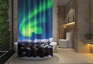 Asdecmoly No Chemical Odor Shower Curtain, Hooks Resistant Waterproof Bathroom Shower Curtains 66X72 inches Northern Lights Above in Iceland