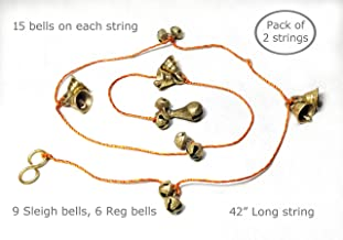 "AzKrafts Mini Brass Hanging Bells on String I Hanging Sleigh Bells, Regular Bells, Combo Bells, for Home Decor I Indian Hanging Jingle Bells on Braided String (42"" String, 2 Pack, Sleigh+Reg Bells)"