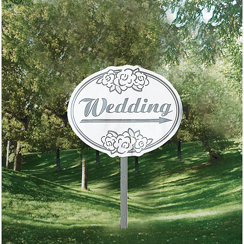 Fun Express - Wedding Is Here Yard Sign for Wedding - Party Decor - General Decor - Yard Signs - Wedding - 1 Piece
