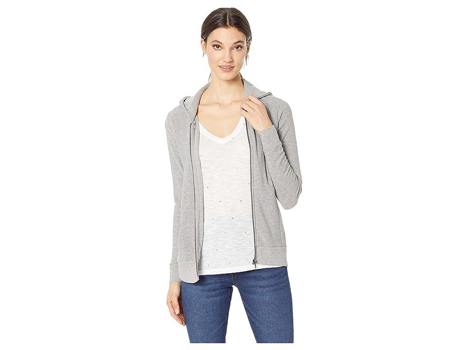 Chaser Cozy Knit Long Sleeve Raglan Zip-Up Hoodie (Heather Grey) Women