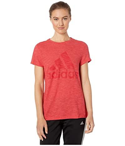 adidas Winners Short Sleeve Crew Tee (Glory Red Melange) Women