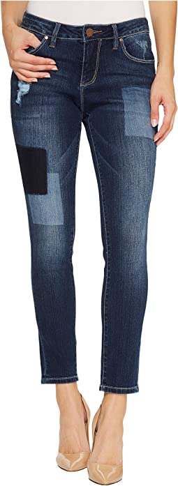 Mera Skinny Ankle Platinum Denim in Bucket Blue/Laser Patching