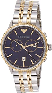 Emporio Armani Classic Alpha Men's Blue Dial Stainless Steel Band Watch - AR1847