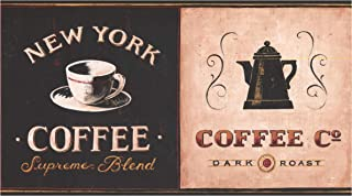 Prepasted Wallpaper Border - Coffee Shops Marquees Around The World Vintage Wall Border Retro Design, Roll 15 ft. x 7 in.