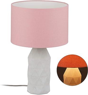 Relaxdays 10029513 Lampe de table en Béton, élevée avec abat-jour, Douille E27, en ciment avec câble, 46,5 x 30 cm, rose/grise, pierre artificielle, tissu, plastique, 1 élément