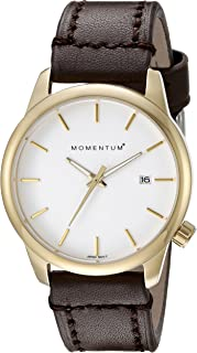 Women's Quartz Watch Logic 36 by Momentum IP Gold Stainless Steel Watches for Women Sports Watch with Japanese Movement & Analog Display Water Resistant Women's Watch with Date – White/Brown Leather