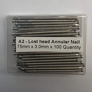 Clavos anulares de acero inoxidable A2 con cabeza perdida de 3 mm de diámetro x 75 mm de longitud, empacados en recipiente de plástico