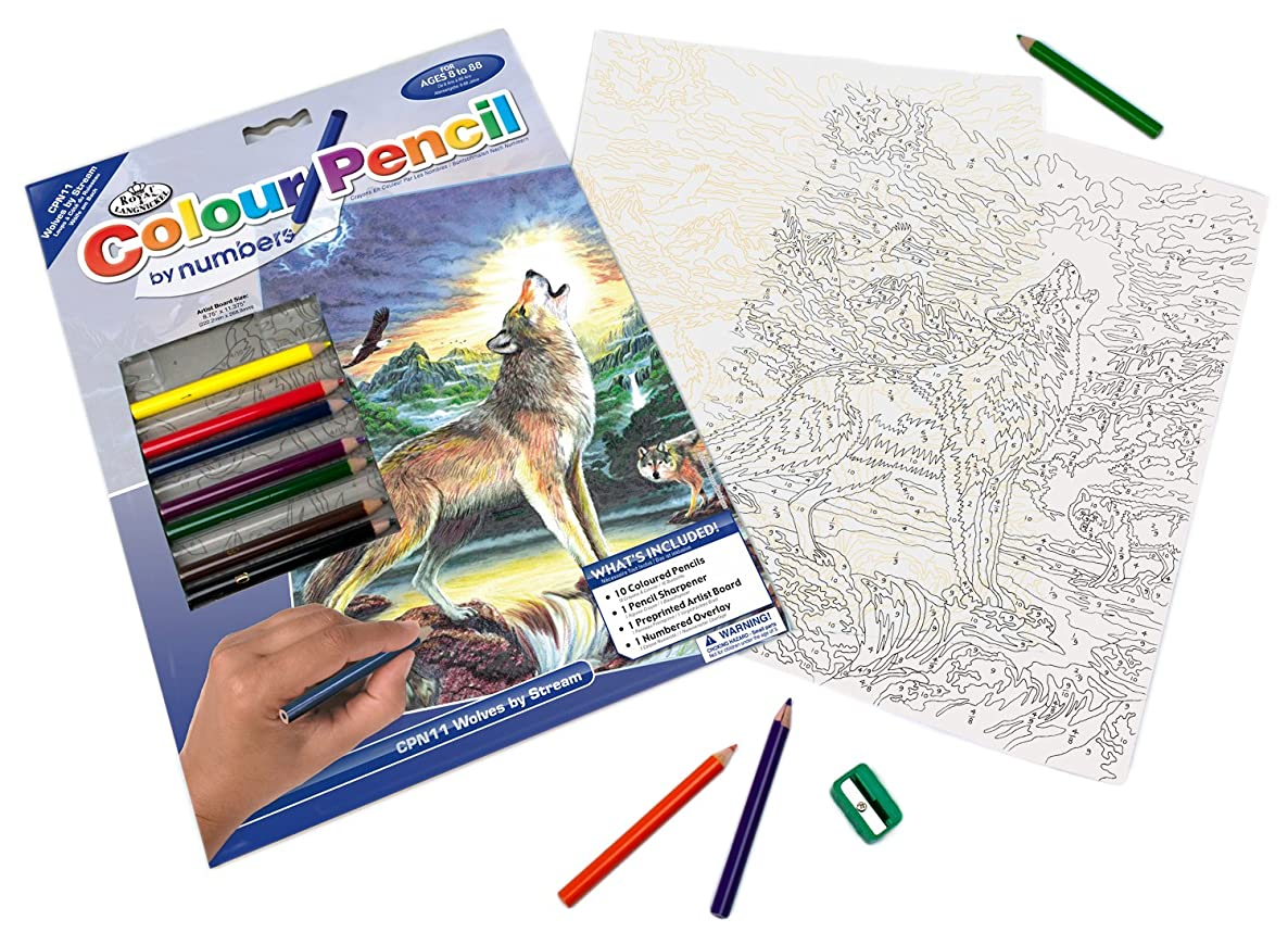 Royal & Langnickel Color by Number Pencil, Wolves by Stream