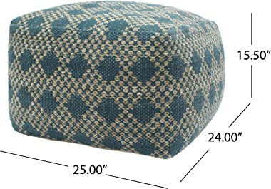 Christopher Knight Home 307628 Adagio Outdoor Boho Handcrafted Large Rectangular Pouf, Beige, Teal