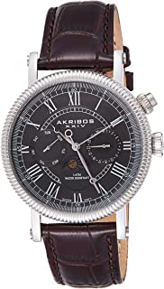 Akribos XXIV Men's Swiss Quartz Multifunction Moon phase Watch - Silver Stainless Steel Coin Edge Bezel - Gray Date and Day Subial - Brown Embossed Alligator Pattern Strap - AK610