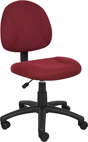 Boss Office Products B315 BY Perfect Posture Delux Fabric Task Chair Without Arms In Burgundy