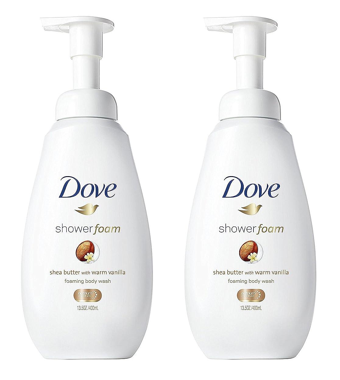 トーナメント取り組む情報Dove シャワー泡 - ウォームバニラシアバター - - ボディウォッシュを発泡ネット重量。ボトルあたり13.5液量オンス(400ml)を - 2本のボトルのパック