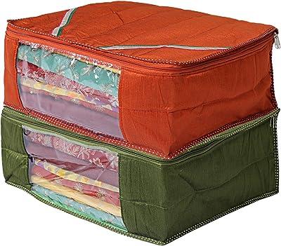 Heart Home 2 Pieces Raw Silk Saree Cover Wardrobe Organizer (Green & Red) - CTHH11518
