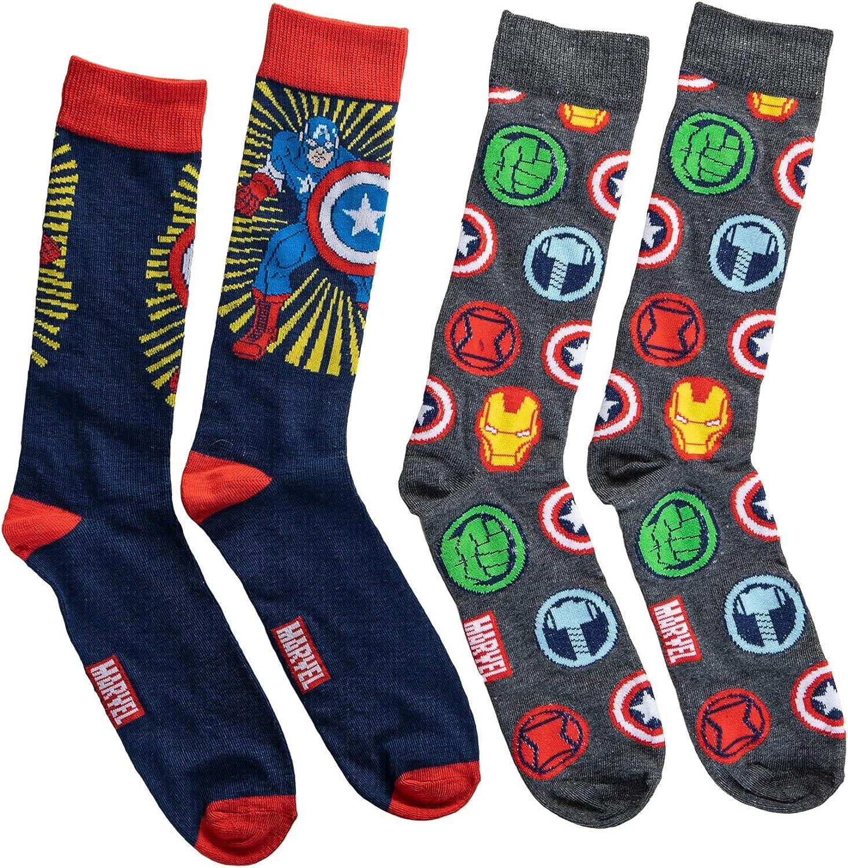 Marvel Avengers Captain America Men's 2-Pack Crew Socks